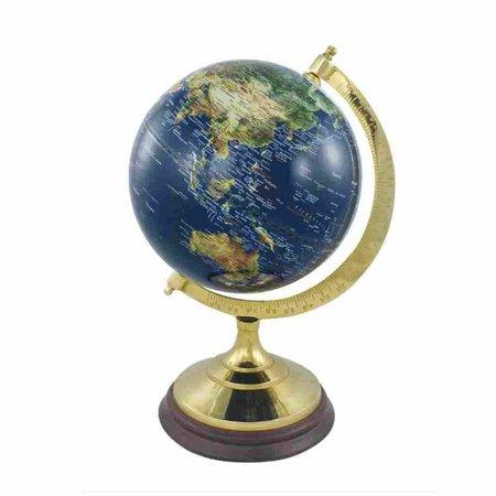 Globe - Messing & Hout - Blauw -Ø 20 cm