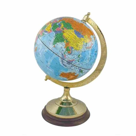 Globe - Messing & Hout - Licht Blauw -Ø 20 cm