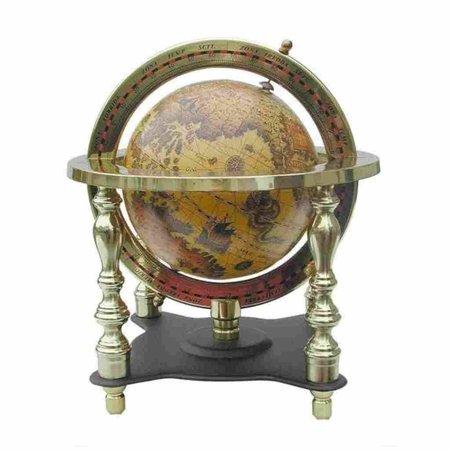 Globe - Messing & Hout -Ø 10 cm