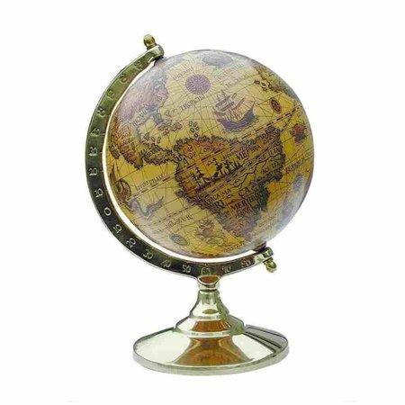 Globe - Messing & Hout -Ø 8 cm