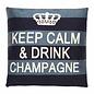 - Keep Calm - Champagne - Blue stripe - 45 x 45 cm