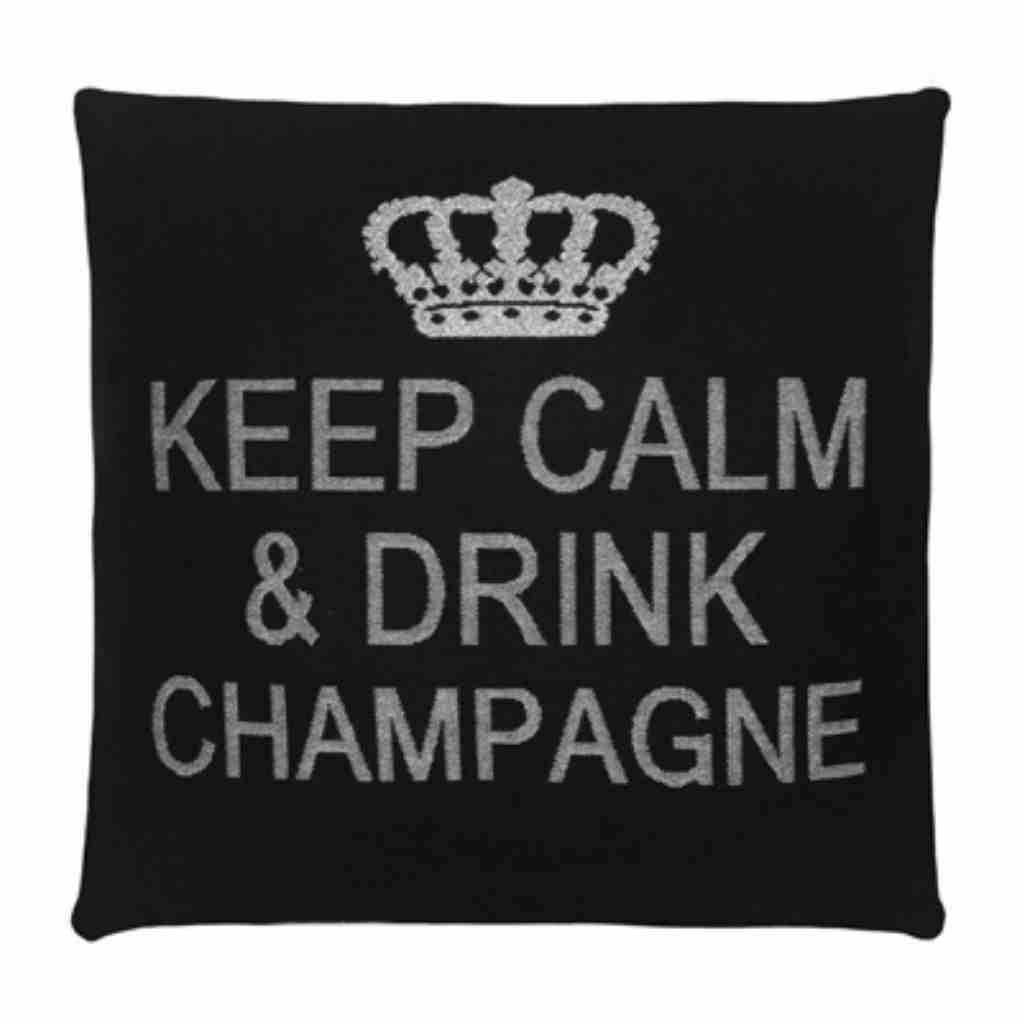 - Keep Calm - Champagne - Black Silver - 45 x 45 cm