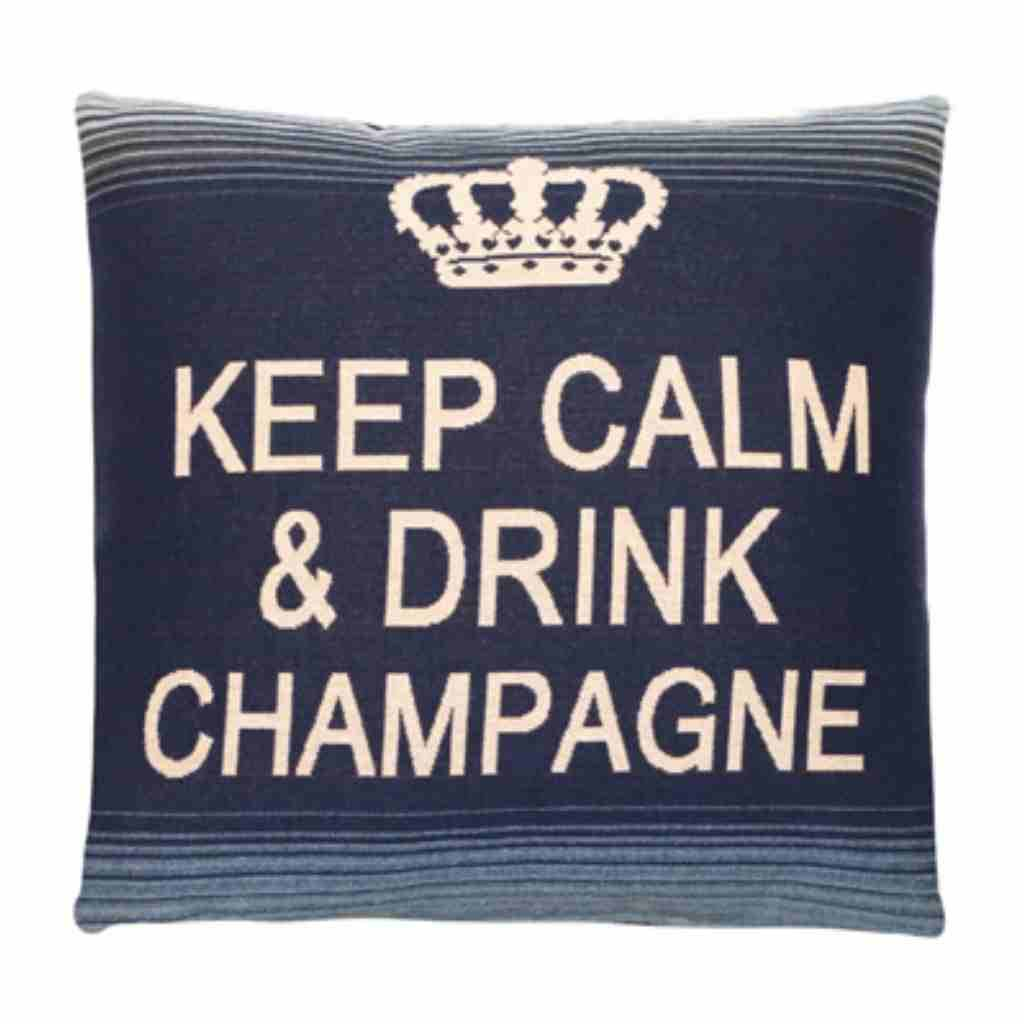 - Keep Calm - Champagne - Blue - 45 x 45 cm