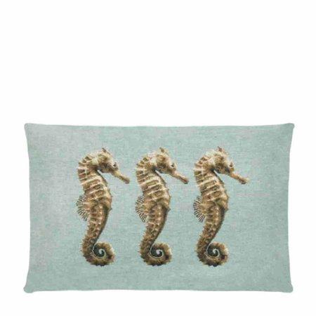 - Ocean Life - Kussen - Aqua - Zeepaardjes - Set van 4