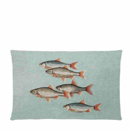 - Ocean Life - Kussen - Aqua - Vissen - Set van 4