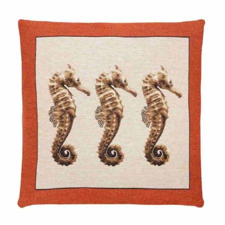 - Ocean life - Kussen - Orange - Zeepaardjes - Set van 3