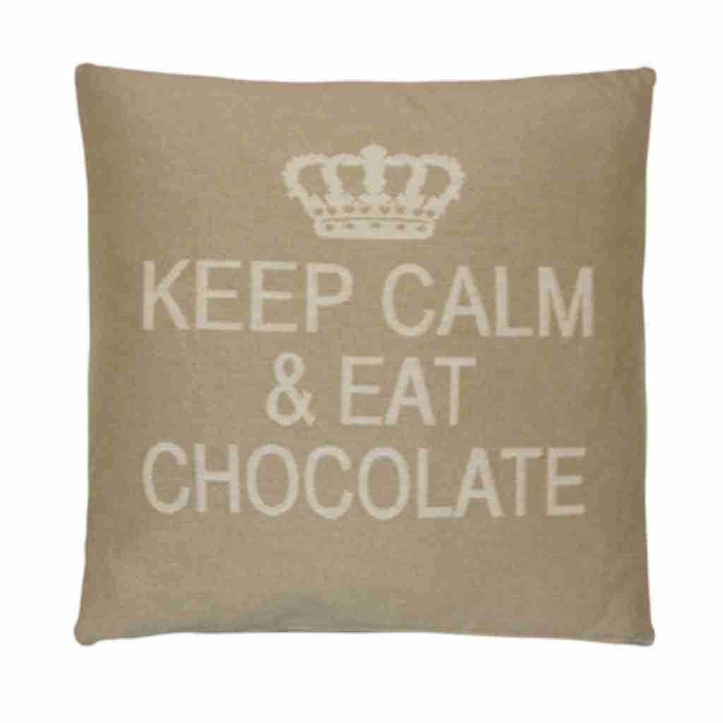 - Keep Calm - Chocolate - SAnd - Set van 2 - 45 x 45 cm