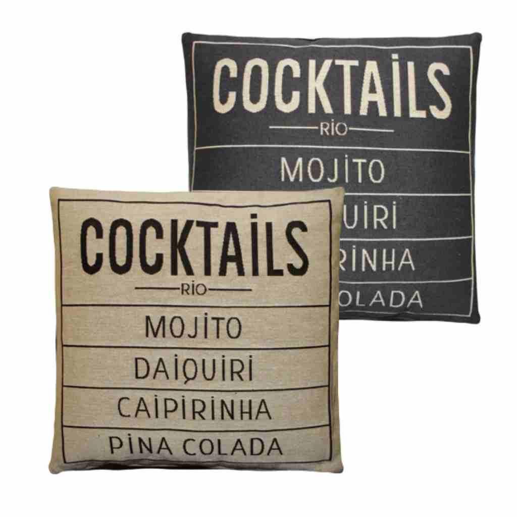 - Cocktails - Kussen -  Grey - Set van 2 - 45 x 45 cm