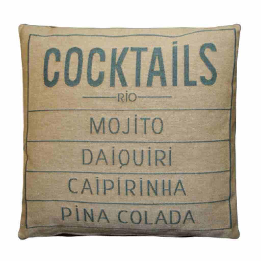 - Cocktails - Kussen -  Aqua - Set van 2 - 45 x 45 cm