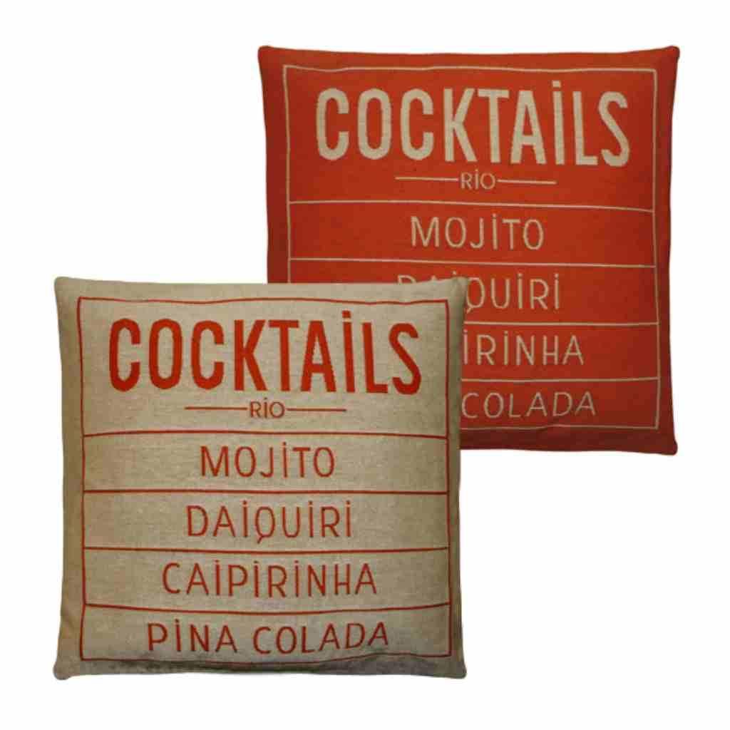 - Cocktails - Kussen -  Orange - Set van 2 - 45 x 45 cm