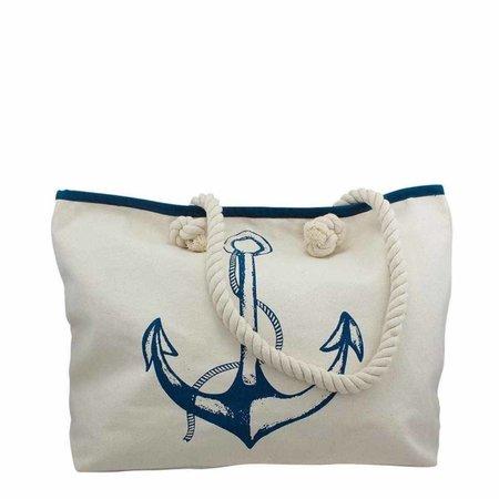 Strandtas - katoen met blauw Anker
