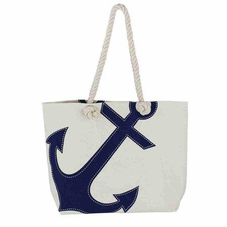 Strandtas - Katoen met blauwe Anker print