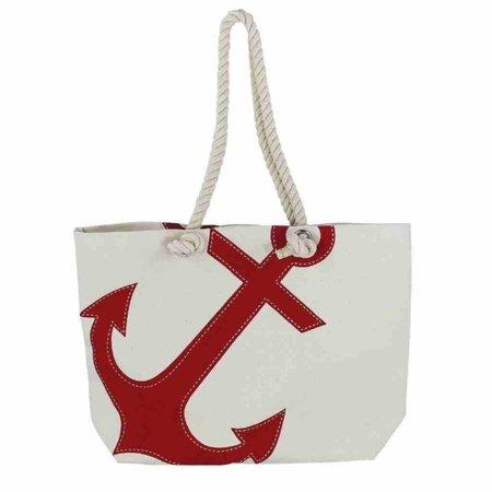 Strandtas - Katoen met rode Anker print