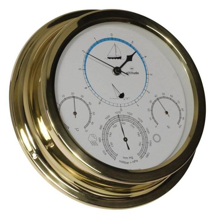 - Getijdenklok + Barometer/Thermometer/Hygrometer - Messing - Ø 224 mm