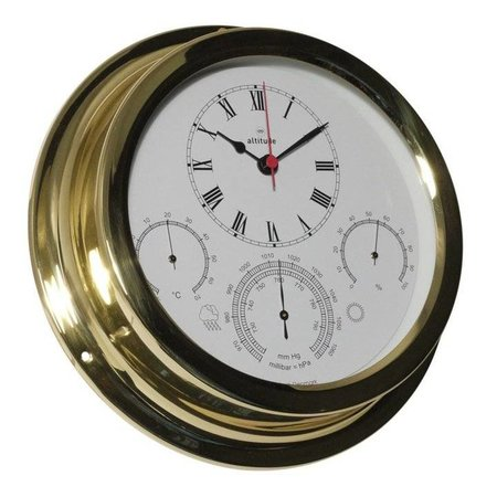 - Klok + Barometer/Thermometer/Hygrometer - Messing - Ø 224 mm