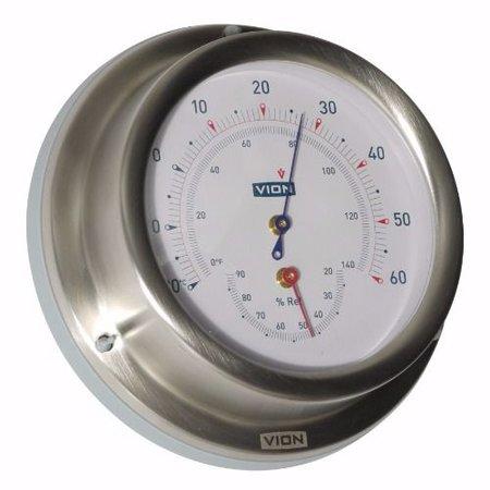 - Thermometer / Hygrometer - Mat RVS - Ø 129 mm