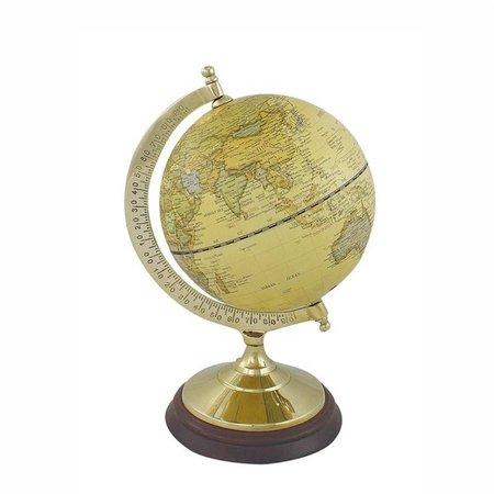 Globe - Messing & Hout - Créme -Ø 12,5 cm