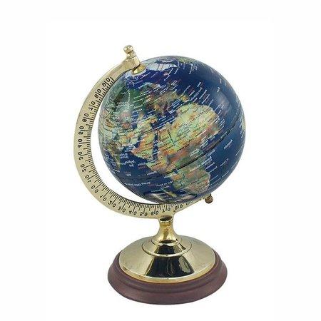Globe - Messing & Hout - Blauw -Ø 12,5 cm