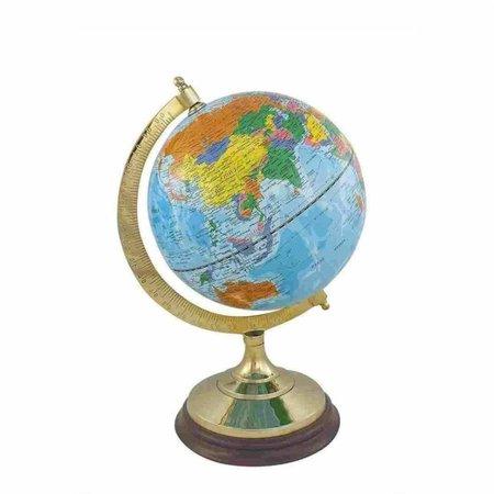 Globe - Messing & Hout - Licht Blauw -Ø 12,5 cm