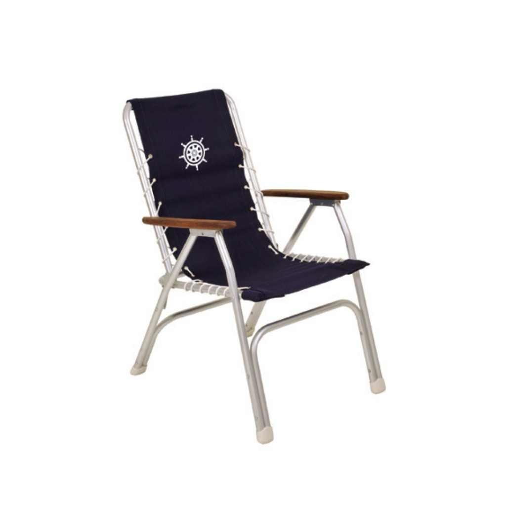 Bootstoel - Dekstoel Aluminium - Navy Blauw (set van 2)