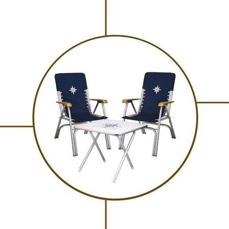 Aluminium tafel en stoelen sets