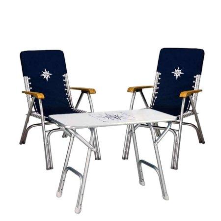 Set II Aluminium Boottafel & 2 Aluminium Stoelen