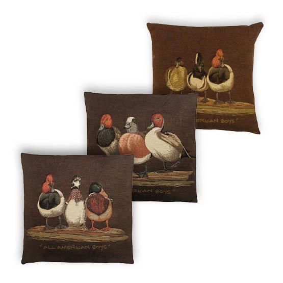 - Vogelwereld - Kussens - Eenden - Bruin - Set/3 - 33 x 33 cm
