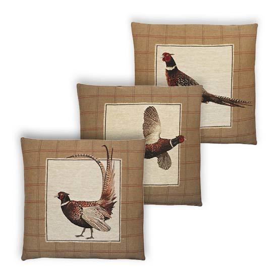 - Vogelwereld - Kussens - Fazant - Bruin - Set/3 - 45 x 45 cm