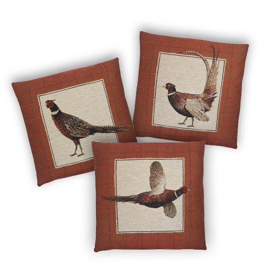 - Vogelwereld - Kussens - Fazant - Rood - Set/3 - 45 x 45 cm