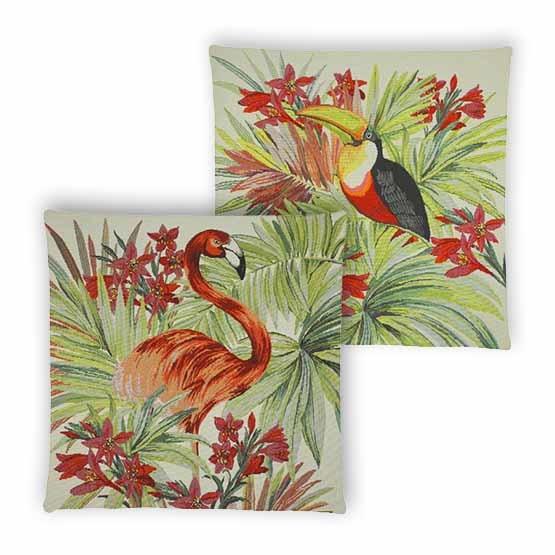 - Tropische Vogel - Kussens - Jungle - Beige - Set - 45 x 45 cm