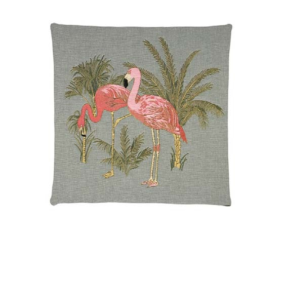 - Tropische Vogel - Kussens - Flamingo - Grijs - Set - 45 x 45 cm