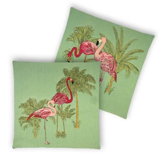 - Tropische Vogel - Kussens - Flamingo - Groen - Set - 45 x 45 cm