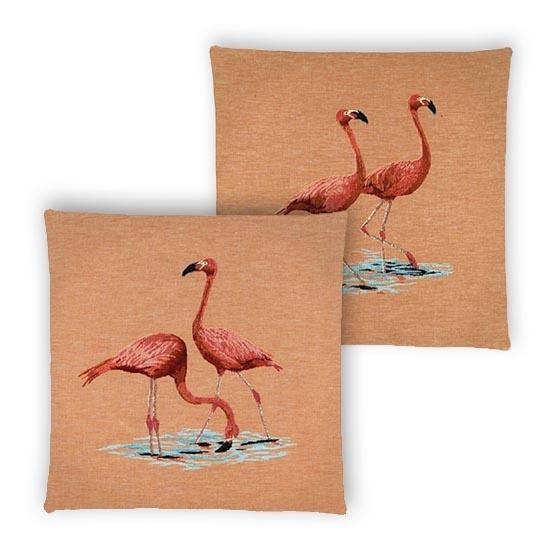 - Tropische Vogel - Kussens - Flamingo - Oranje - Set - 45 x 45 cm