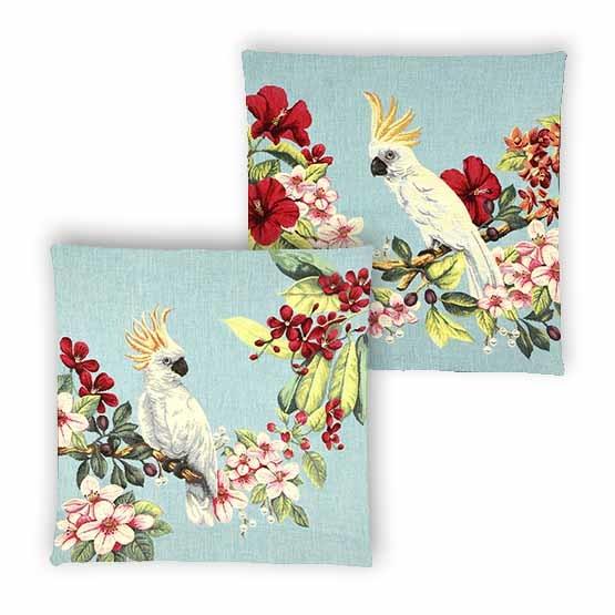 - Tropische Vogels - Kussens - Kaketoe - Blauw - Set - 45 x 45 cm