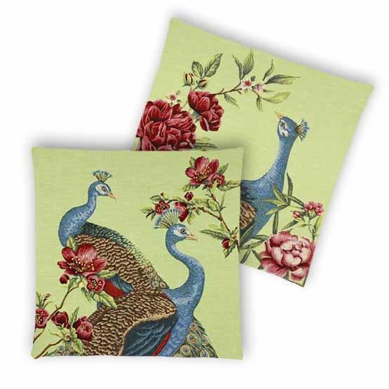 - Tropische Vogels - Kussens - Pauw - Groen - Set - 45 x 45 cm
