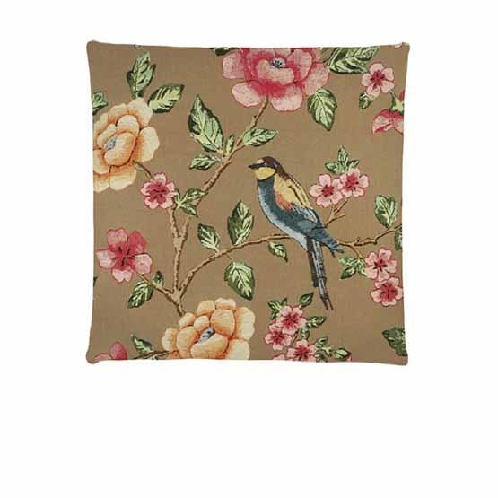- Tropische Vogels - Kussens - Bloessem - Taupe - Set/3 - 45 x 45 cm