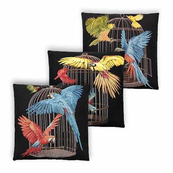 - Tropische Vogels - Kussens - Pappegaai - Zwart - Set/3 - 45 x 45 cm -