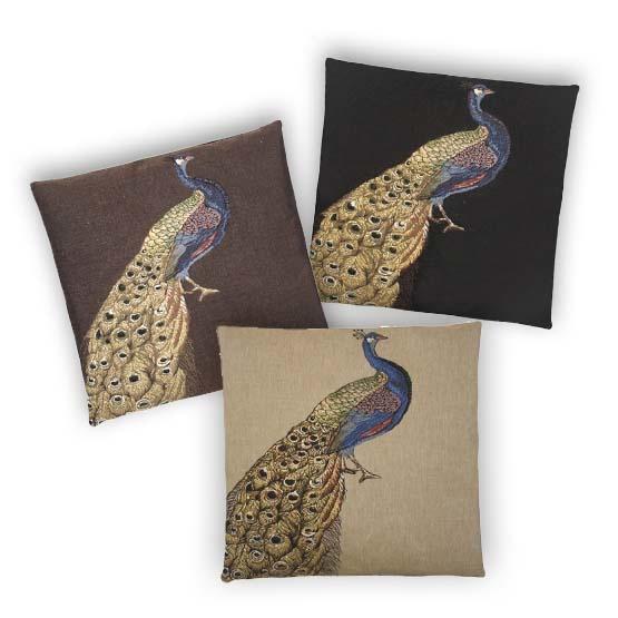 - Tropische Vogels - Kussens - Pauw - Goud - Set/3 - 45 x 45 cm