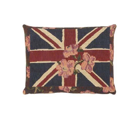 - Union Jack - Kussen - Floral - Blauw - 33 x 45 cm