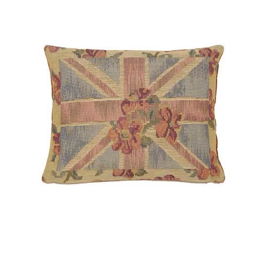 - Union Jack - Kussen - Floral - Beige - 33 x 45 cm