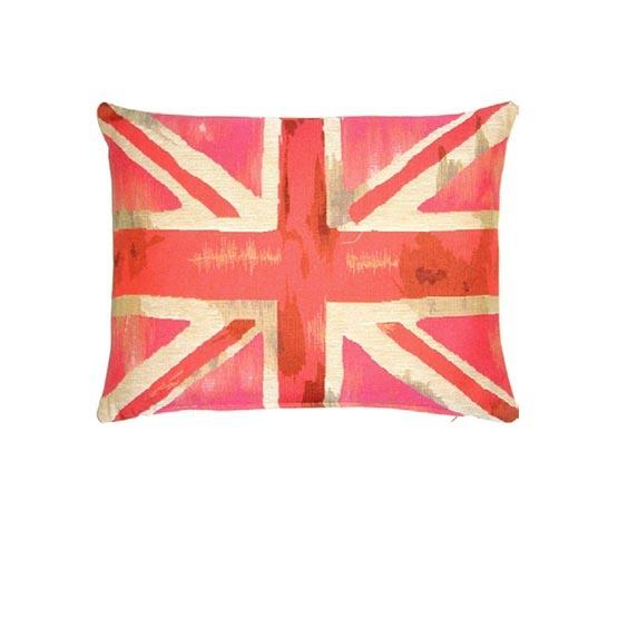 - Union Jack - Kussen - Vintage - Roze - 33 x 45 cm