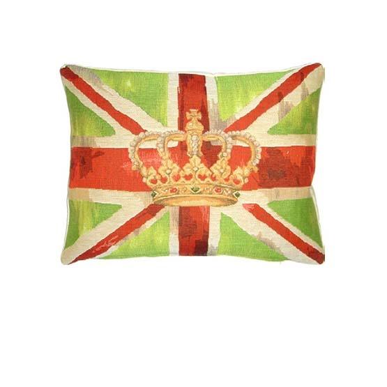 - Union Jack - Kussen - Vintage Crown - Green - 33 x 45 cm
