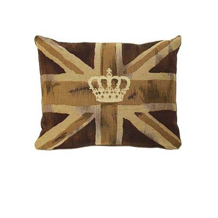 - Union Jack - Kussen - Vintage Crown - Bruin
