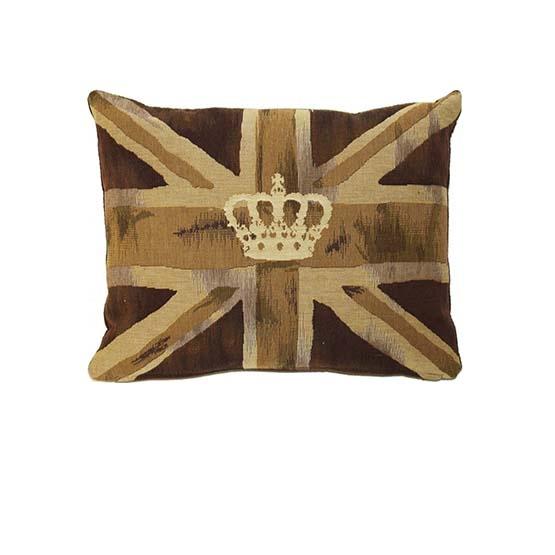 - Union Jack - Kussen - Vintage Crown - Bruin - 33 x 45 cm