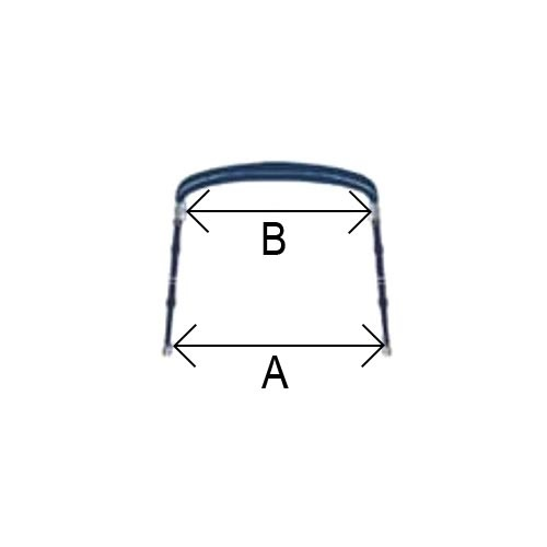 - Aluminium - Biminitop - 3 boog - H 130 - B 150/170 - L 183 - Blauw