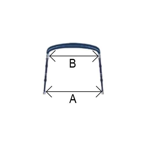 - Aluminium - Biminitop - 4 boog - H 125 - B 210/230 - L 200 - Blauw