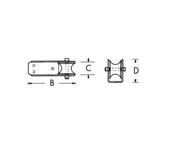 - Boegrol - Vast - B 160 mm - C 51 mm - D 60 mm - Roestvrij Staal