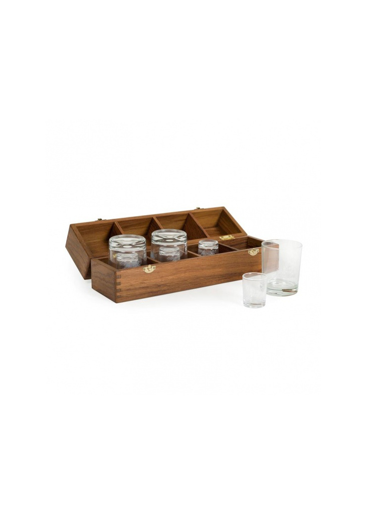 - Captains bar - 2 x 4 glazen - 36.7 x 10 x 15 cm - Teak