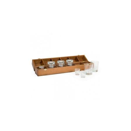 - Captains bar - 2 x 6 glazen - 54 x 10 x 15 cm - Teak