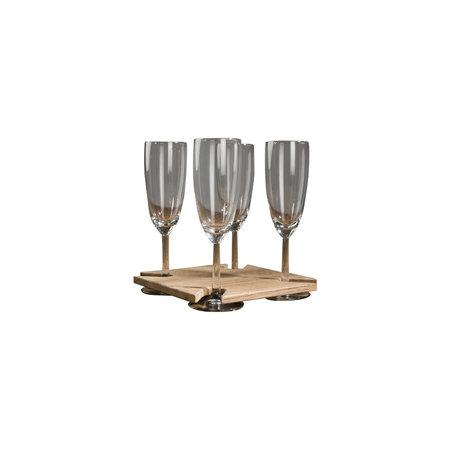 - Wijnglashouder - tafel bevestiging - 18 x 18 x 4,3 cm - Teak